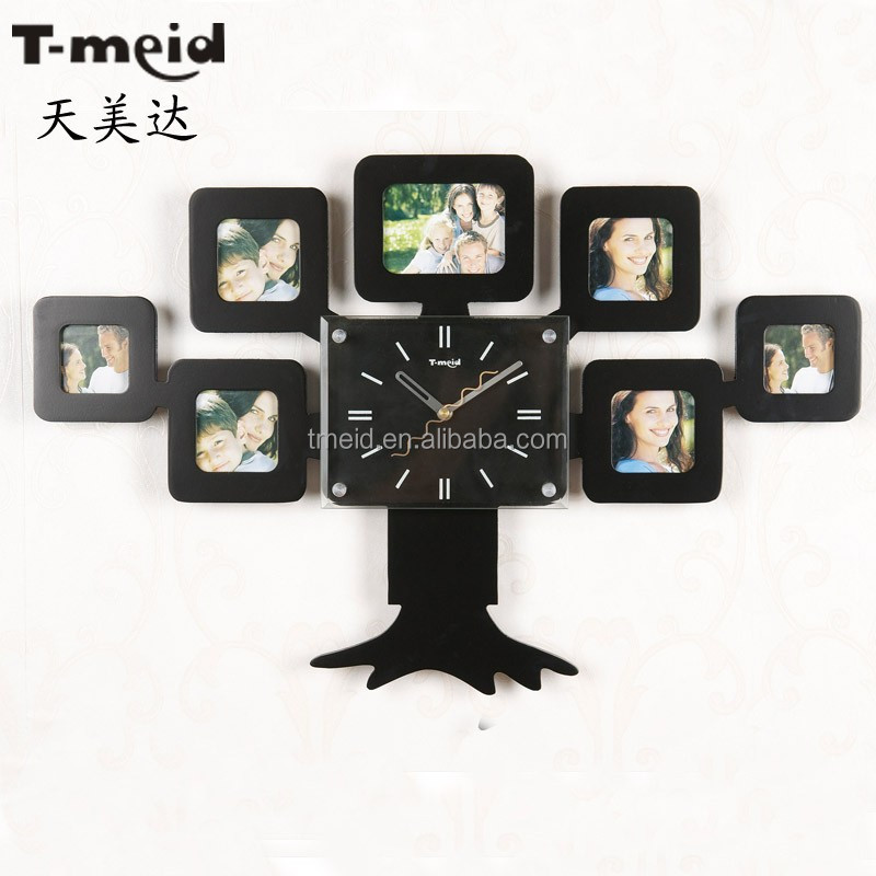Family tree shape photo frame wall clock wood clock with pictures fashion quartz clock