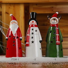2018 Decorative Ceramic Christmas Santa Claus and Snowman with Led Light