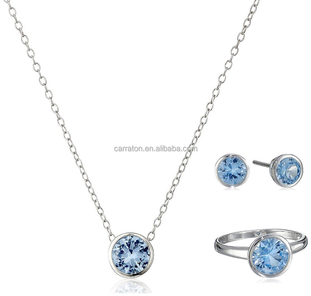 925 sterling silver simple design diamond cut blue cubic zirconia CZ aquamarine ring stud earrings chain necklace jewelry set