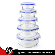 Factory Price Free Sample Storage Baby Leakproof Round Glass Food Container Set