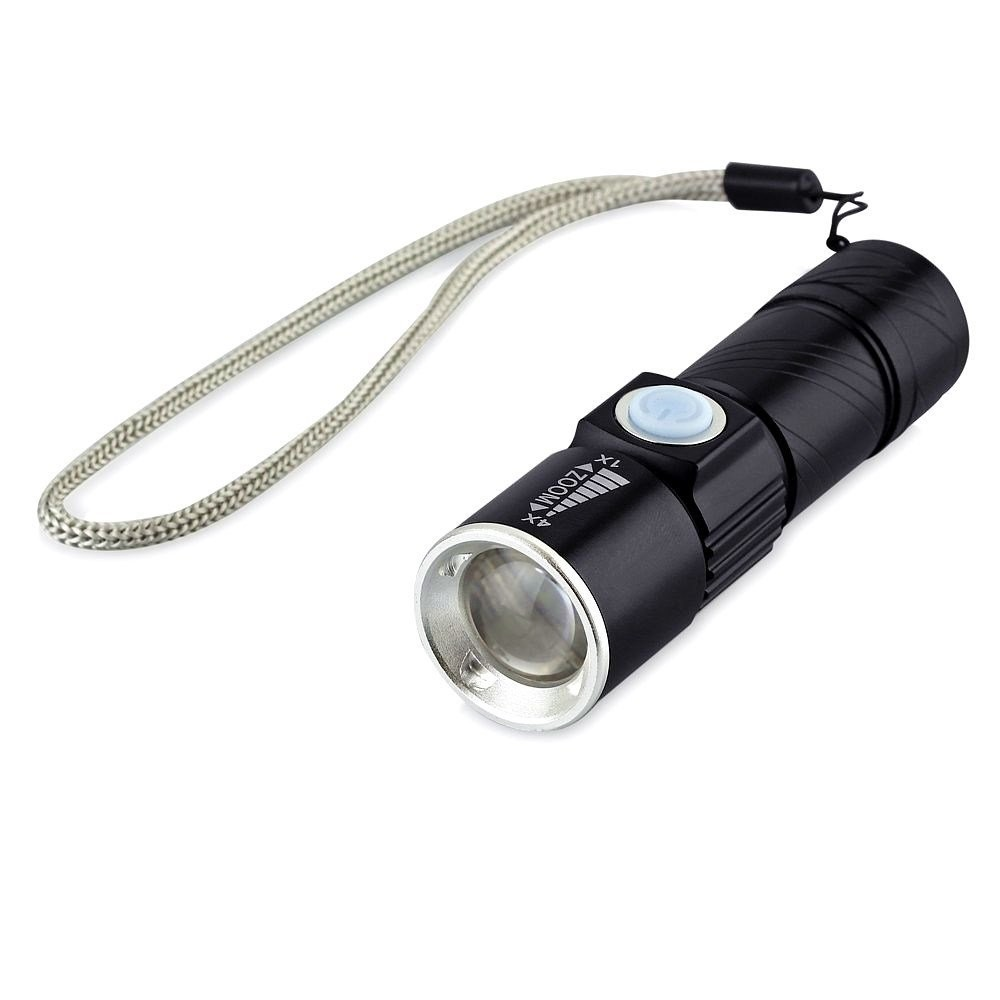 Aluminum Alloy 3 Modes Adjustable Focus Portable USB Flashlight Torch with USB Plug