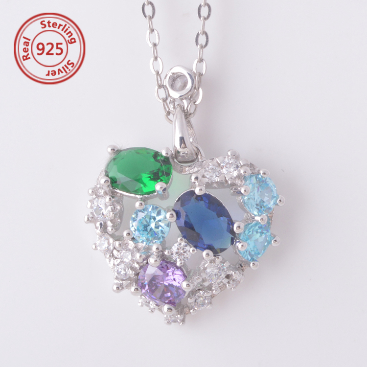 925 Sterling Silver all colorful rhinestone necklace natural style