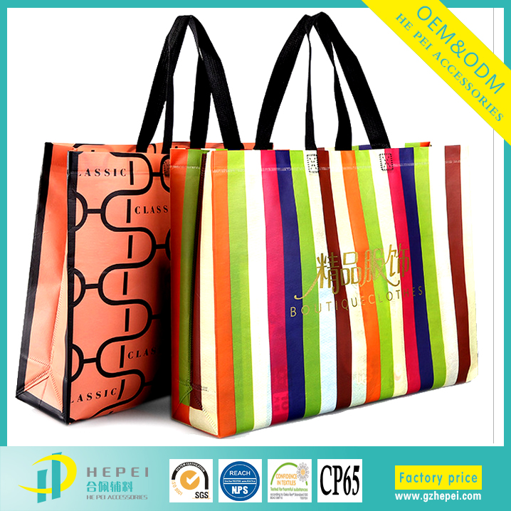 Fashionale packaging nonwoven striped shopping bag from China
