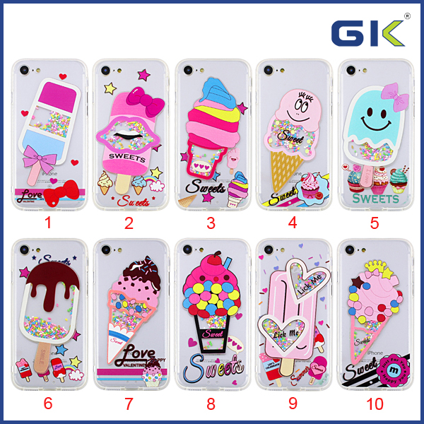 [GGIT] Fashion Summer With Ice Cream Accessories Skidproof Border Liquid Quicksnad TPU Cell Phone Case For IPhone 7