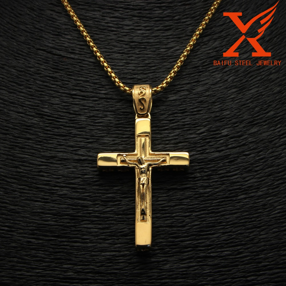 New Design Religious Men's Punk Gold Stainless Steel Crucifix Bible Large Jesus Cross Pendant