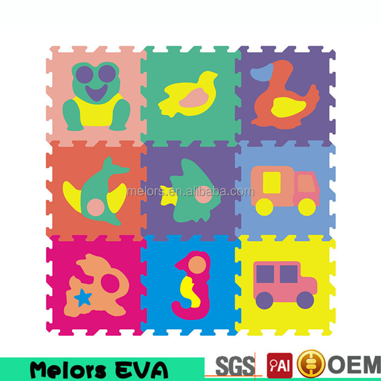 Melors eva foam puzzle play mat with texture cartoon pictures of animal puzzle mat