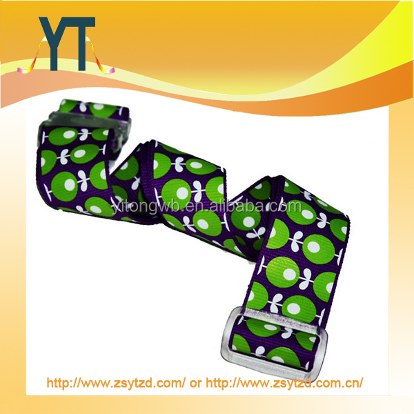 Red color custom logo luggage belt/strap,OEM polyester travelling luggage belt