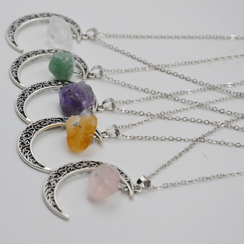 New style Natural Stones Handmade Crystal Pendant Irregular Chain Necklace