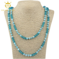 Beautiful 60 inch blue baroque long pearl necklace pictures