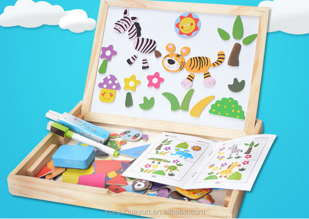Hot selling !!! Wooden magnetic educational kids jigsaw puzzles