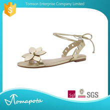 New Product Smart PU crisscross Flat Open Toe Ankle Gold Ladies Sandal