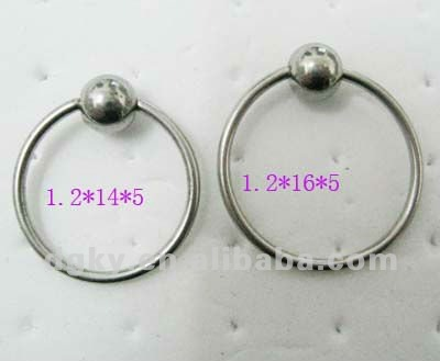 316 Stainless steel silver nose ring captive bead ring