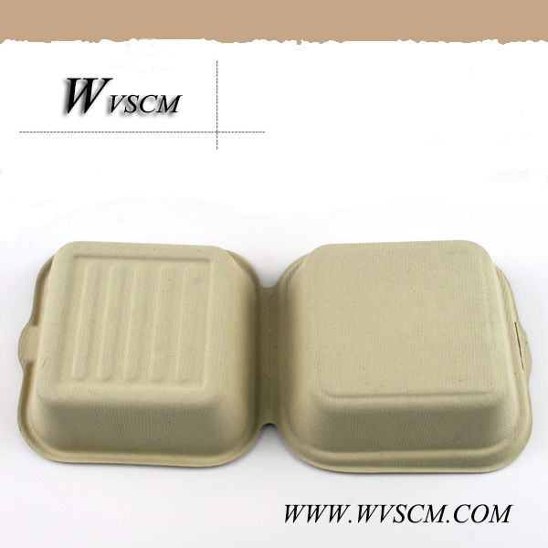 Compostable sandwich clamshell packaging container