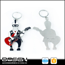 Custom Novel Design Punk Decoration Cool Skeleton Guitarist Guitar Metal Logo Music Emblem Key Chain Pendant For Belt Hangbags