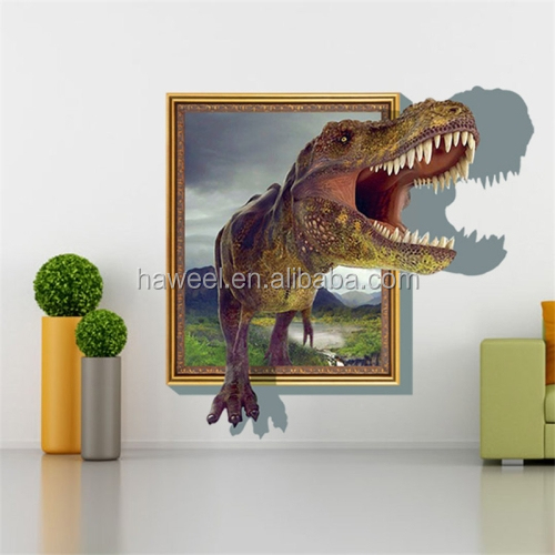 new products 3D Home Decor Dinosaur & Frame Removable Wall Stickers bedroom furniture