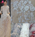 Latest design 3d embroidery lace fabric wedding fashion floral textile lace fabric bridal dress tulle lace fabric