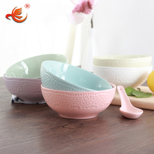 WKTB180 cheap color embossed porcelain ceramic soup noodle rice bowl