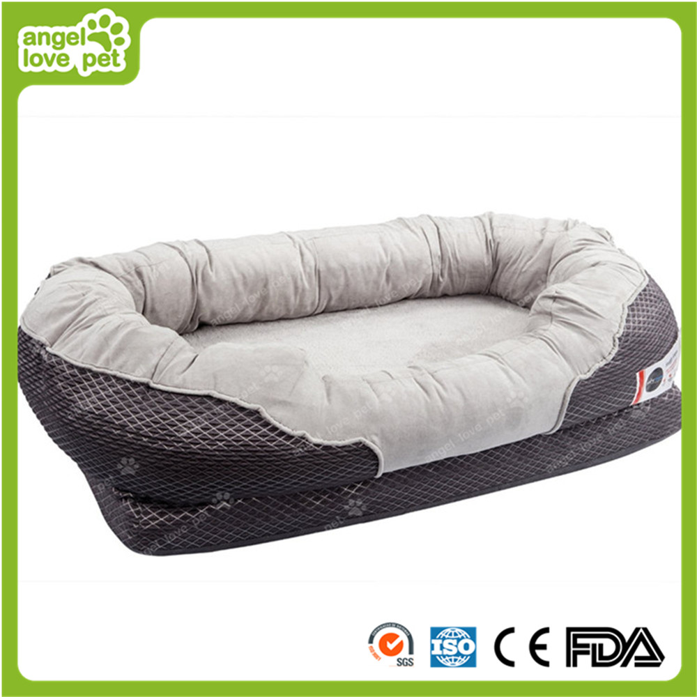 Gray Orthopedic Dog Bed Snuggly Sleeper with Grooved Orthopedic Foam
