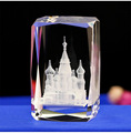 High quality 3d laser engraving building church crystal for decoration