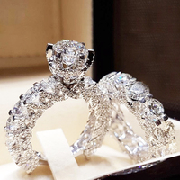 CAOSHI Wedding Engagement Ring Set Rhodium Plated Jewelry Brass Zircon Zirconia Stone Rings Couple