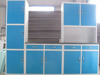 Double color steel kitchen cupboard