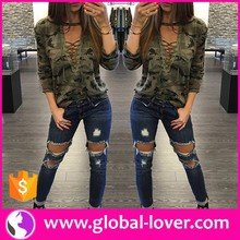 Sexy western ladies new stylish camo print casual tops fancy ladies tops latest design