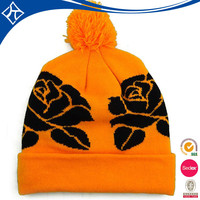 custom fashion pom pom knitted wool winter hats for young girl