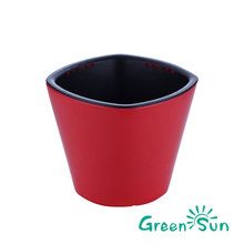 Fire red color plastic flowers pot for home office shop Christmas decorations
