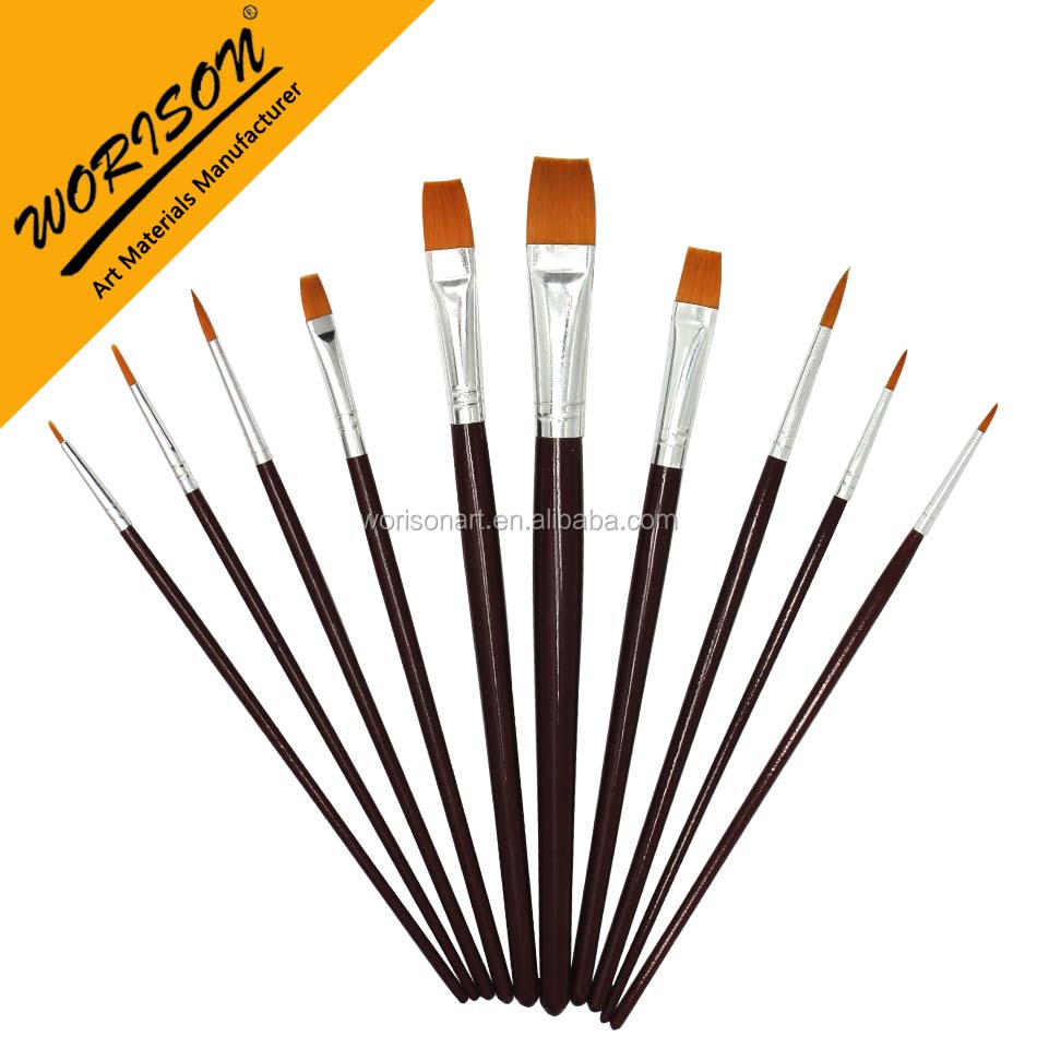 OEM short handle Round and flat brush oil painting synthetic brush for artist garde