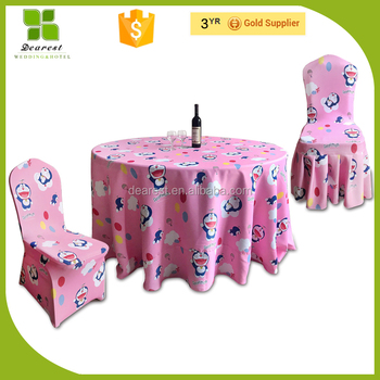 Lovely children cartoon pattern doraemon baby birthday party chair covers and table clothes
