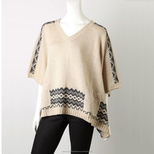 low moq fall winter thick ladies stylish fashion knitted poncho
