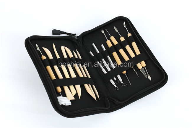 Wooden Handle Stainless Steel 14 pack Sculpting modeling Pottery Clay Tools