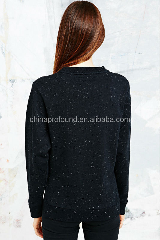 Black fleck frency terry side slit design women pullover sweaters