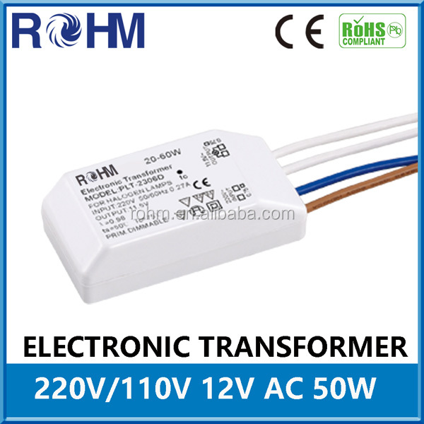 50W Dimmerable Electronic Transformer for Halogen Lamp/Quartz Lamp/ LED Strip 11.5V 12V AC 60W 105W 150W