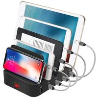 Docking Station Qi Wireless Charging Pad, Smart IC Technology for Smartphones/Tablets/USB Type-C/Multi Port Desktop Organizer