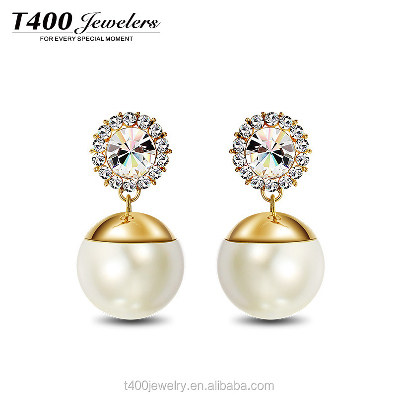 T400 fashion jewelry imitation big pearl drop earrings made with Austrian crystal