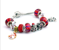 Queena Charming Pendent Lampwork Chain DIY Christmas Red Beads Bracelet