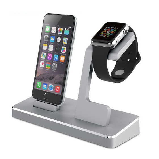 For iPhone Dock with Stand For Apple Watch Two Extra USB Port on the Back