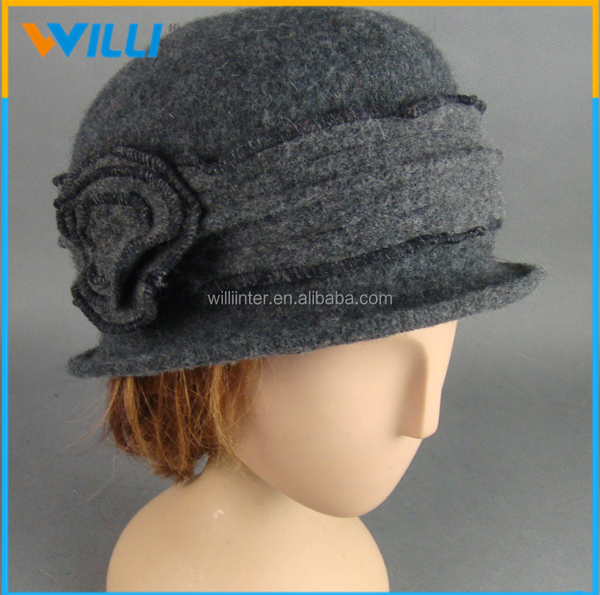 Fashion Ladies Wool Hat Knitted Hat With Flower