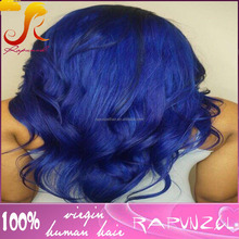 Factory price top fashion 100 brazilian human hair blue full lace wig with baby hair