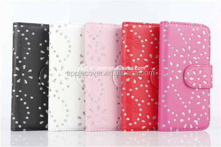 Girl Style Bling Bling Stand Leather Cover Case For iPhone5/5s , For iPhone 5/5S Wallet Case