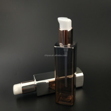 high quality 180ml 160ml 120ml pet plastic square silver plating bottle