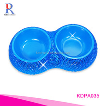 Wholesale hot sales top quality bling bling colored crystal lead travel pet bowl double dog bowl