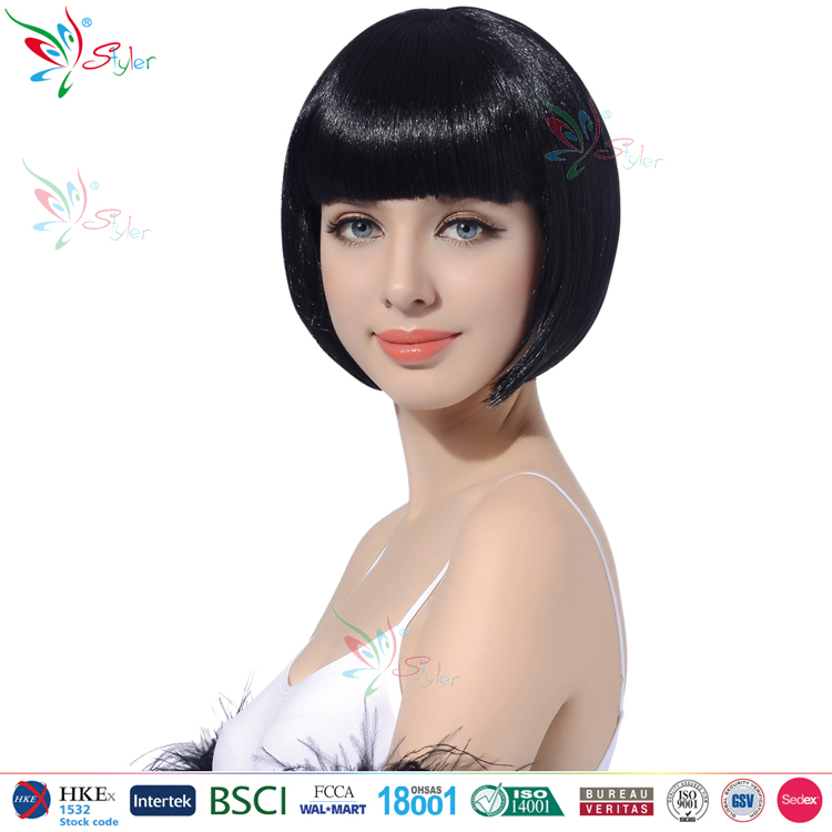 Styler Brand women 10 inch straight bob party hair wig halloween short black wig