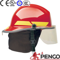 Red half face helmet for fire fighting