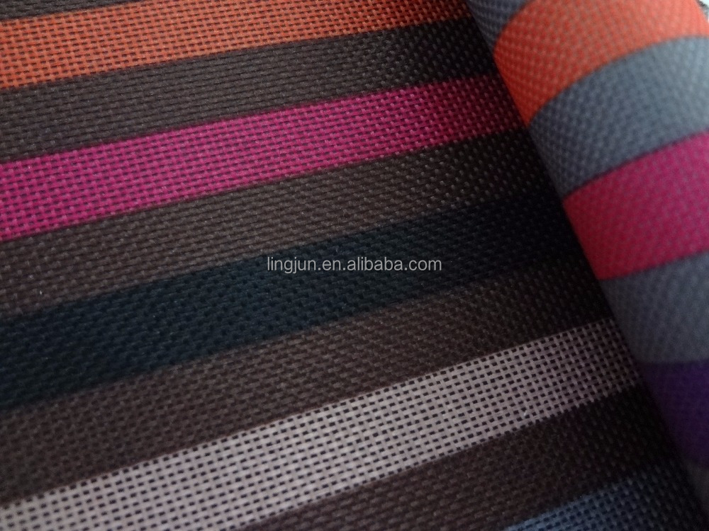 stripe printed fabric, printed polyester fabric with PVC coating for bag, awning, chair