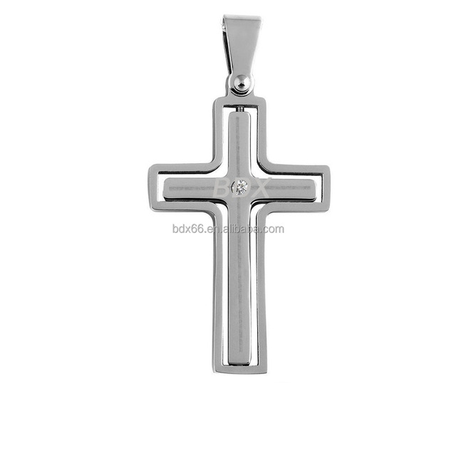 China Manufacturer Supply Fashion Religious Catholic Jewelry Stainless Steel Silver Jesus Christ Cross Pendant With Diamond