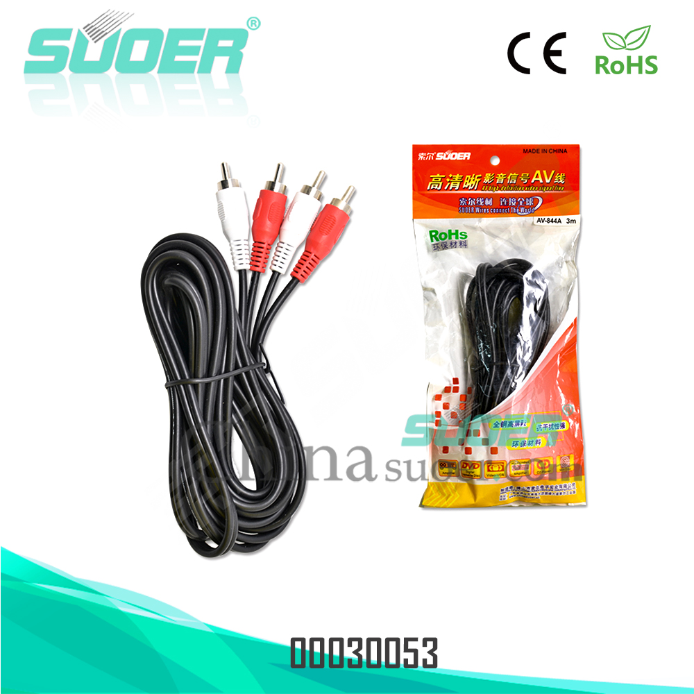 Suoer Factory price 3m AV cable 2 RCA to 2 RCA audio dvd cable RCA cable
