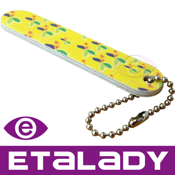 Flower Printed Yellow Nail File Keychain