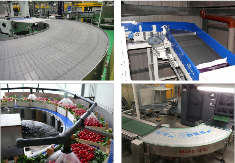 Modular Flat Top Curving / Turning Conveyor HS-2000A for Lodistic / Beverage / Food / Printing Industry